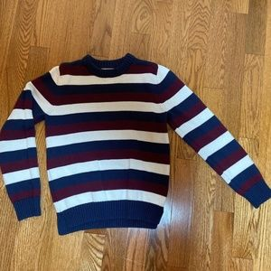 Boy's Lands' End Striped Sweater 10-12 Patriotic